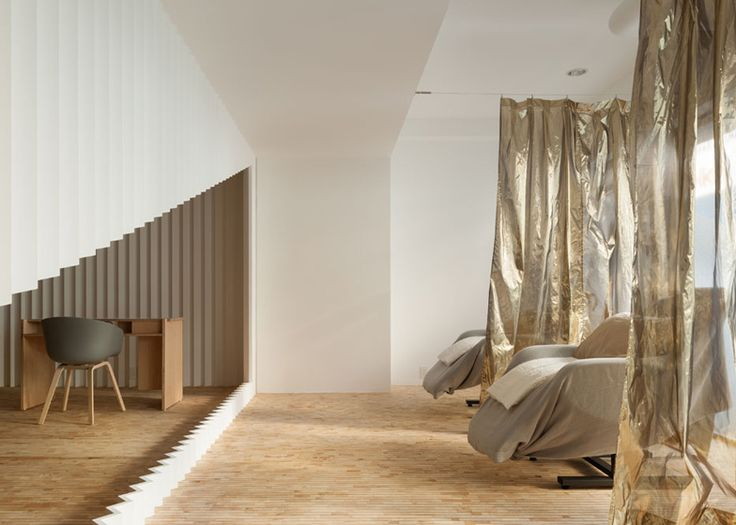Beauty Salon By Yusuke Seki With A Crimped Screens And Golden Curtains Japan DesignNail