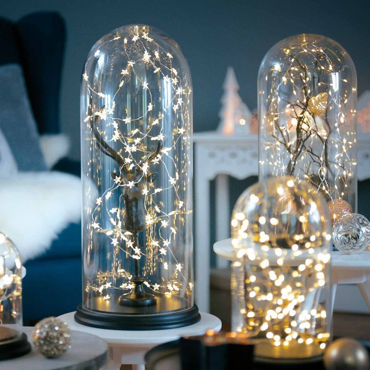 Here's a little idea how to put a fairy lights in scene nicely. #Hirsch #Glasglocke #Lichterkette #XMAS
