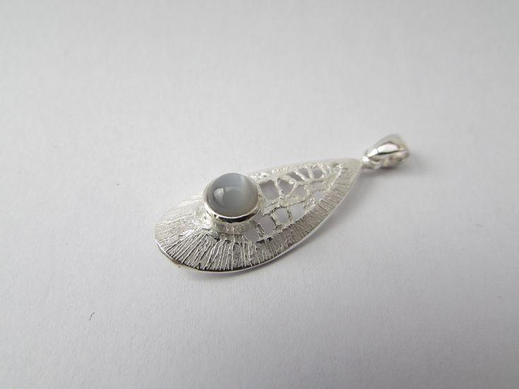 Grey Moonstone Pendant Sterling Silver