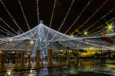 Bogotá Colombia: Christmas lights and fountain; Centro Comercial Gran Estación stock photo