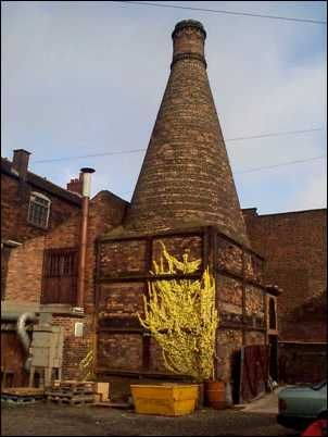 experimental muffle kiln with circular hovel at Moorland Pottery Works, Burslem.