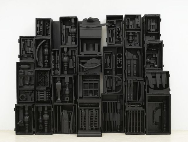 """Louise Nevelson - Untitled wood painted black, 8' 4"""" x 10' 11-1/2"""" x 1' 6-3/4"""" (254 cm x 334 cm x 47.6 cm), 16 elements plus 2 part base, 18 parts total, © 1964 Estate of Louise Nevelson/Artists Rights Society (ARS), New York / Photo by: G. R. Christmas"""