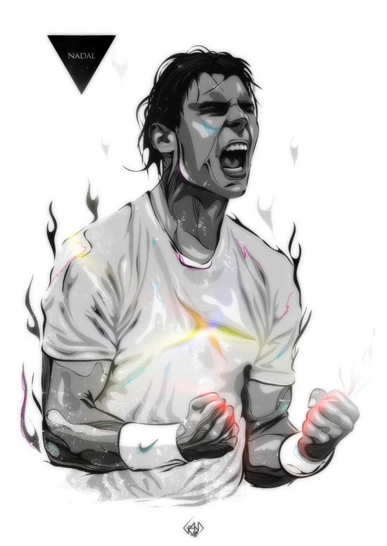 Grand Slam Portraits/Rafael Nadal by Bartosz Piotrowski of Dublin, Ireland.