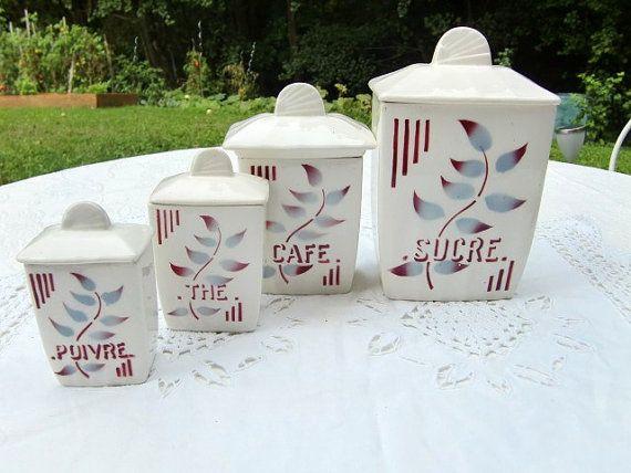 French Vintage Kitchen Canisters Set Of 4 , Floral Decor, Ceramic Storage  Pot, Storage