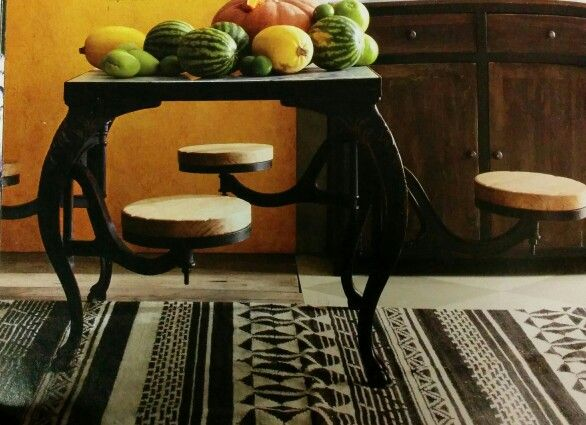 Table with attached stools.