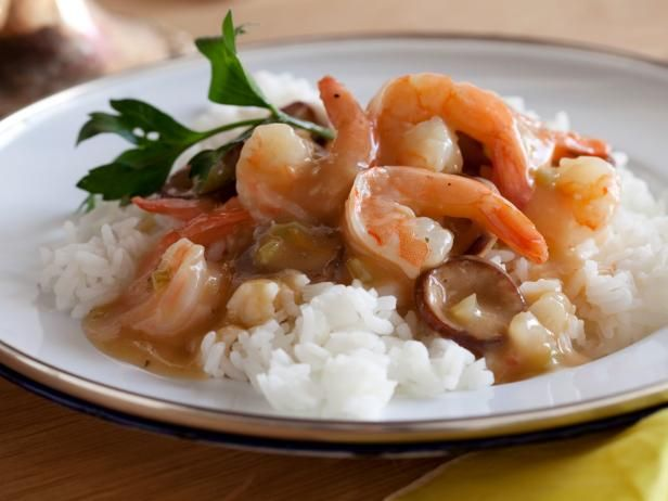Alton Brown's version of this bayou favorite is made with shrimp and spicy andouille sausage; serve it over white or brown rice to soak up the richly flavored sauce.