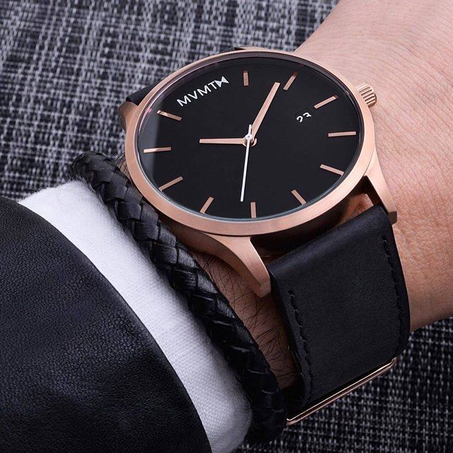 Model: Classic Rose Gold/Black Leather Brand: @mvmtwatches  @watchaca Double tap if you like it! by gentscafe