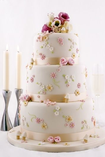 gorgeous white wedding flower cake