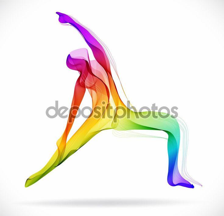 Йога поза, Абстрактные цветные рисунки на белом фоне — стоковая иллюстрация #57835939