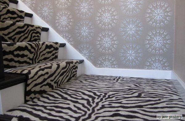 Zebra carpet on stairs for the home pinterest for Zebra print flooring
