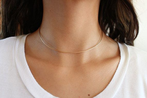 14K Gold Fill or Sterling Silver Thin Choker Necklace. Super unique and chic! Comes in 3 lengths. 12 13 and 14