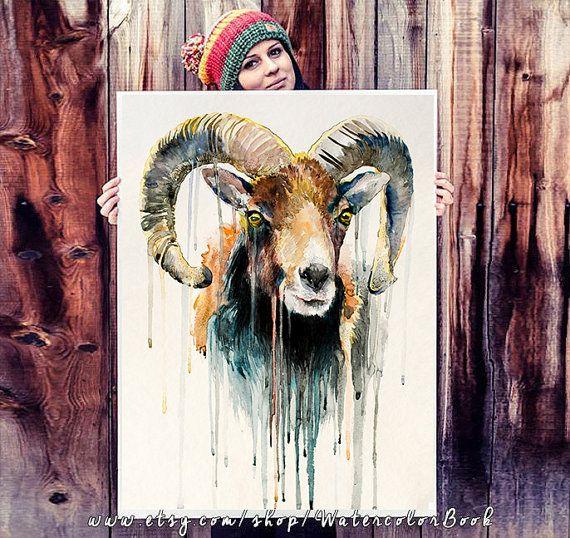 Mouflon Watercolor Painting Print By Slaveika Aladjova