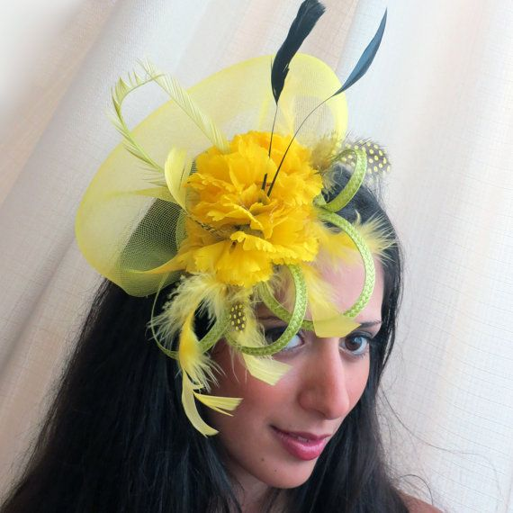 Yellow fascinator lemon flower fascinator hat  apple green fascinator with yellow/black feathers GOING WILD