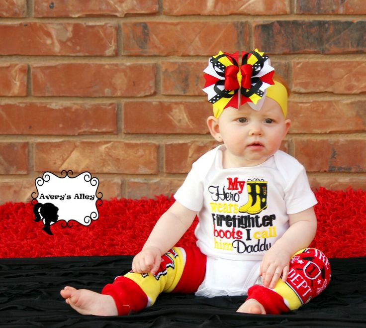My Hero wears Firefighter Boots I call him Daddy - Girls Fireman Embroidered Shirt or Bodysuit & Hair bow set by AverysAlley1 on Etsy https://www.etsy.com/listing/189000307/my-hero-wears-firefighter-boots-i-call