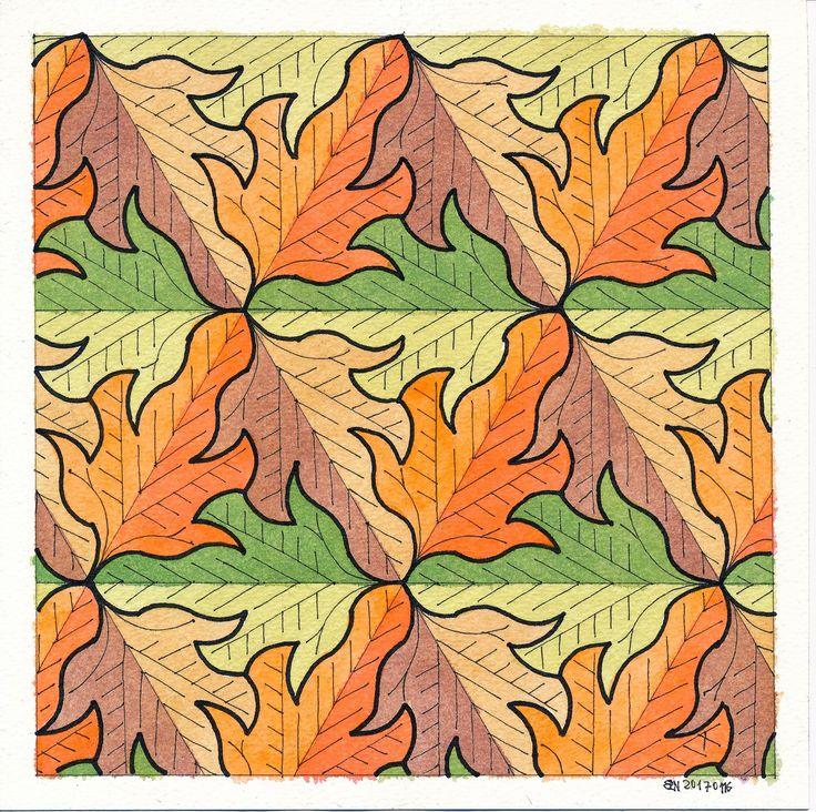 #tessellation #tiling #wallpaper #symmetry #geometry mathart #regolo54 #isometric #triangle #escher #leaves