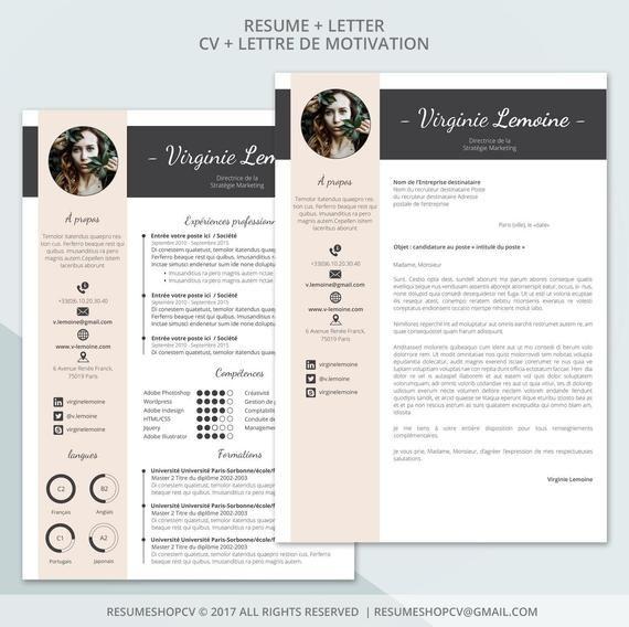 4 Cv Curriculum Vitae Professionnel Moderne Et Graphique Etsy Professional Resume Good Cv Resume