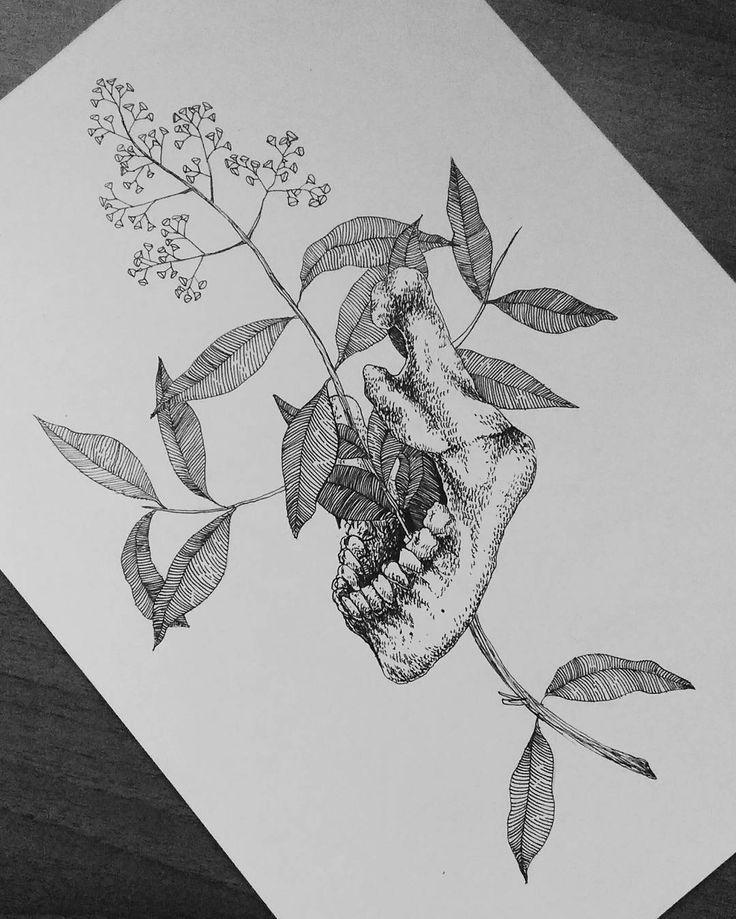 #draw #illustration #igblackandwhite #blackwork  #nature #plant #skull #jaw #bones