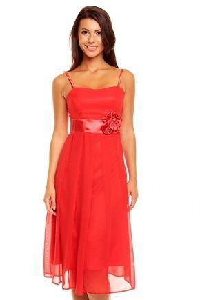 Czerwona Koktajlowa Midi Sukienka na Cienkich Ramiączkach z Różą