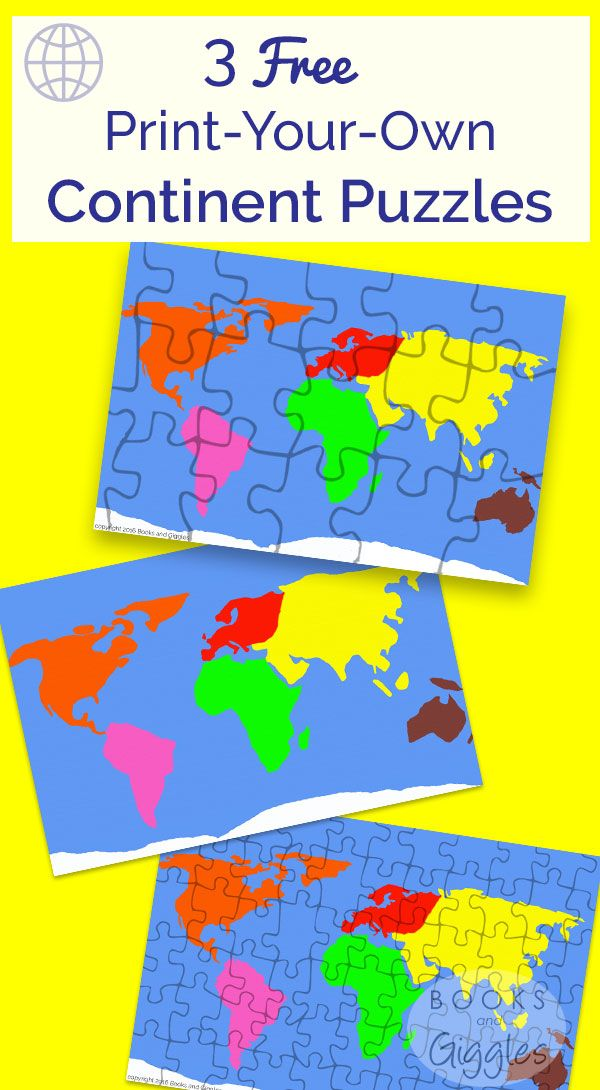 Geography for Kids! 3 free print-your-own continent puzzles for prek, kindergarten, and early elementary. One puzzle has continent-shaped pieces, the others have jigsaw-shaped pieces.