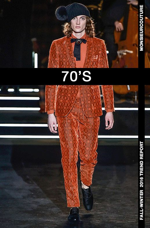 """monsieurcouture:  """" Fall/Winter 2016 Trend Report.  70's  by  Michel Medina  The romantic era of the '70s fashion was all about freedom, a variety of colors, eclectic looks and a tendency to mix and match different styles with each other. It's the period..."""