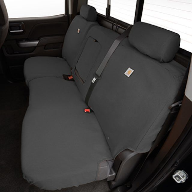 Carhartt Crew Cab Rear Split Folding Bench Seat Cover Package In Gravel With Armrest Chevrolet Chevrolet Accessories Bench Seat Covers Dog Car Seat Cover