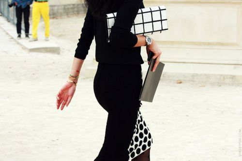 dots and stripes. so chic: Details, Fashion Style, Pattern, Black And White, Street Styles, Black White, Dots