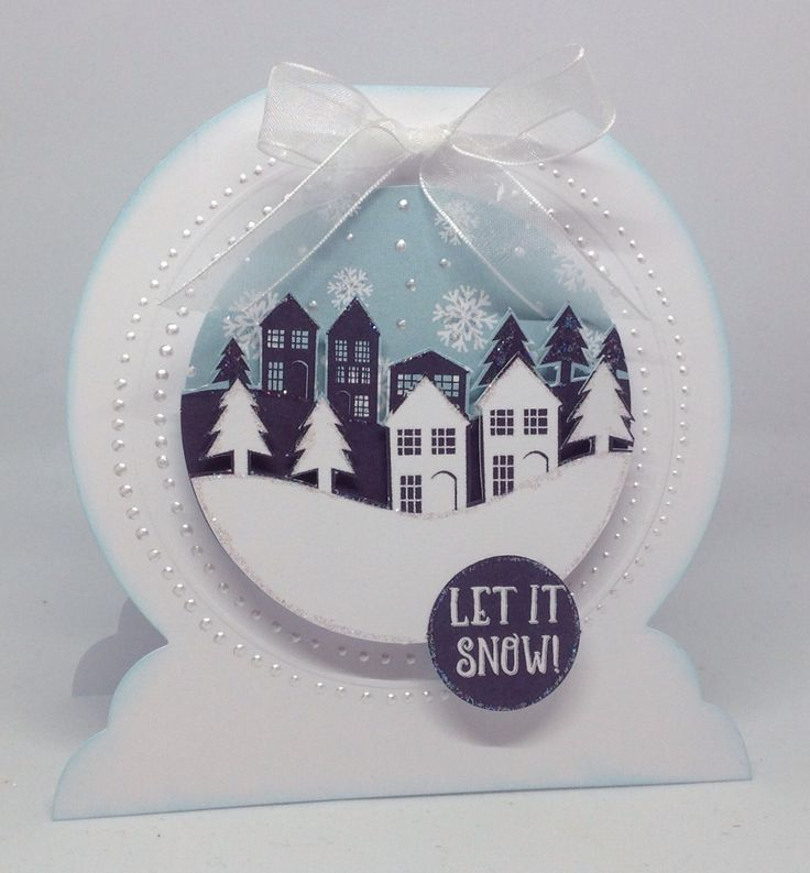 Card created by Julie Hickey using Snow Globe Winter Scene card kit www.craftworkcards.com