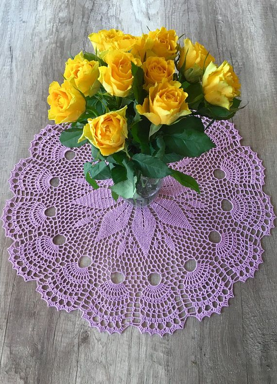 The product is hand-made round crochet, purple doily. It is quite large. The pattern is exceptionally beautiful and eye catching. Colour is light purple - easy on the eye and elegant. This doily can be an ideal Inherent part used to decorate the table is doily, which is color-coordinated to other elements. Sometimes it is enough to put a colorful doily to turn the table into a magical table.  Measurement: - Diameter - 20,5 (52 cm)    *The doily pictured is one of a kind and the exact one you…