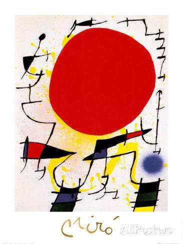 De rode zon Schilderij van Joan Miró bij AllPosters.nl