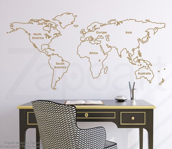 Best 25 world map outline ideas on pinterest outline of world outlined world map wall decal with continents by zapoart on etsy gumiabroncs Choice Image
