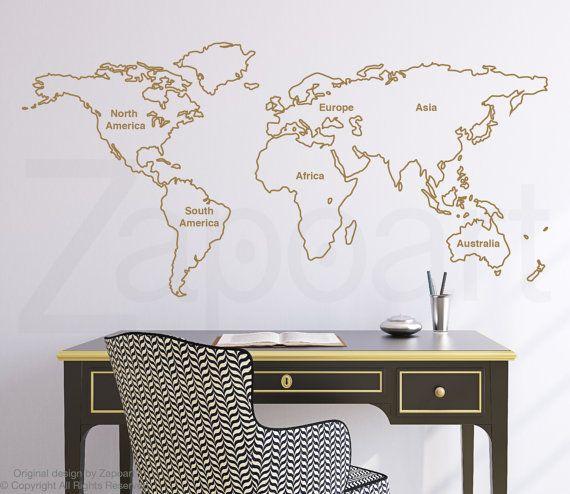 Beschriebenen Welt Karte Wall Decal mit Kontinenten von Zapoart