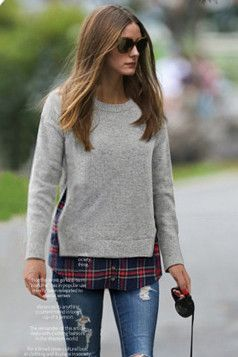 Business casual work outfit grey crew neck sweater over for Plaid shirt under sweater