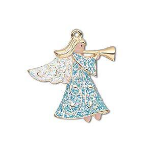 """Шарм, золото закончил на """"оловянные и quot; (цинк на основе сплав), эмаль, голубой / белый / персик, 25x24mm односторонний ангел с рогом и блестящие крылья и одеяние. Продаются по отдельности."""