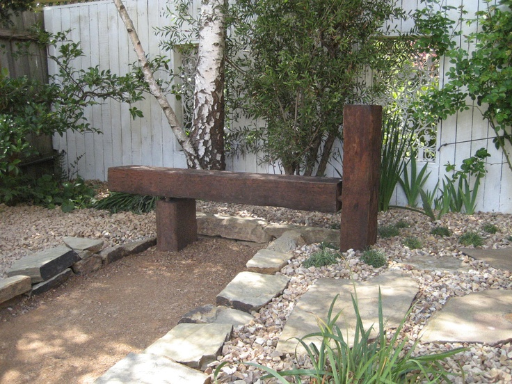 Jarrah timber off cuts as a garden seat.Timber Gardens Furniture, Jarrah Timber, Gardens Seats, Projects Grass, Gardens Crafts, Furniture Design, Gardens Stuff, Renovation Ideas