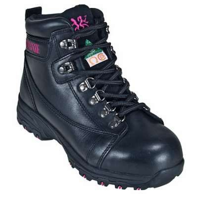 "Moxie Boots: Womens Aluminum Toe Vegas 6"" Hiker Black Work Boots 50121 Durability, flexibility and comfort, all of which come equipped in the design for the Moxie Trades 50121 Women's Vegas 6"" Hiker Black Work Boots. These boots are made for women's feet but provide you with the same great quality and important safety features you can find in men's hiker boots!"
