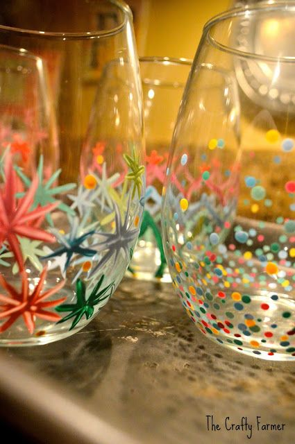 Painted Wine Glasses- A fun activity for a bottle of wine and a bunch of girlfriends!
