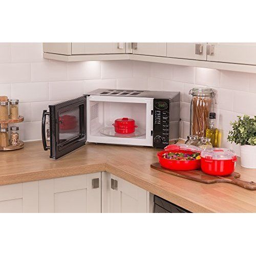 Small Compact Microwave Oven 3 Piece Cooking Set Digital Automatic Cooker Bundle