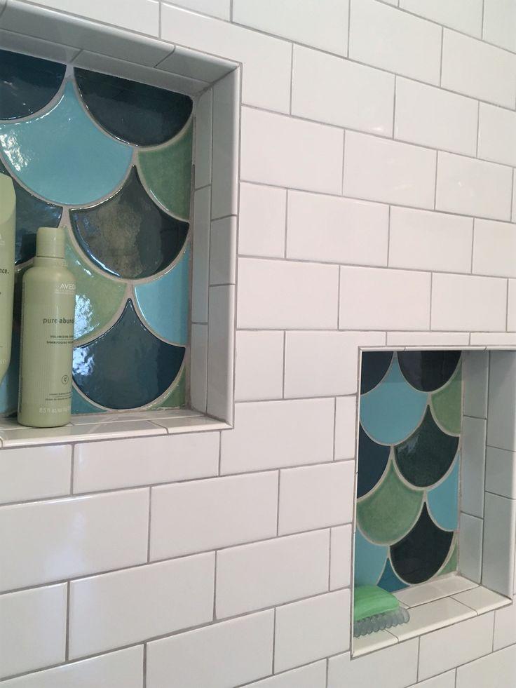 Handmade Fish Scale Tile mosaic bathroom niche  - Mermaid bathroom - Mercury Mosaics Workshop