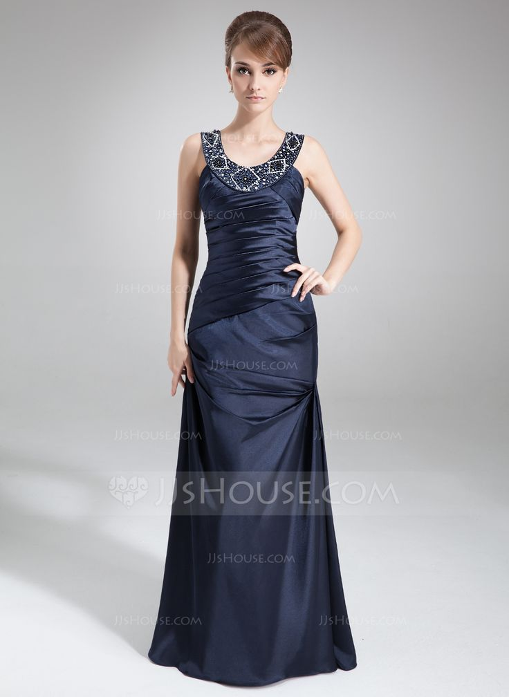 Sheath/Column Scoop Neck Floor-Length Charmeuse Mother of the Bride Dress With Ruffle Beading (008022559) - JJsHouse