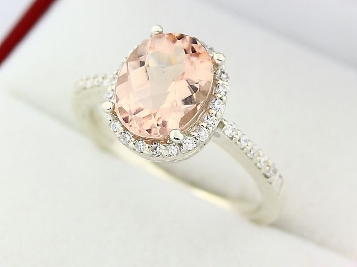 Natural Oval Checkerboard Cut Morganite(Pink Emerald)  Solid 14K White Gold Diamond engagement Halo Ring. $678.00, via Etsy.