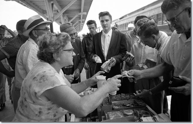 July 3rd,1956 Elvis along with his band & his manager Colonel Tom Parker eat at 'Penn Station.' Then they boarded a train New York City. Elvis was returning home to Memphis and a much anticipated July 4th concert at 'Russwood Park' stadium. After their hometown boy made it big on TV in New York City this concert was going to be a homecoming of sorts