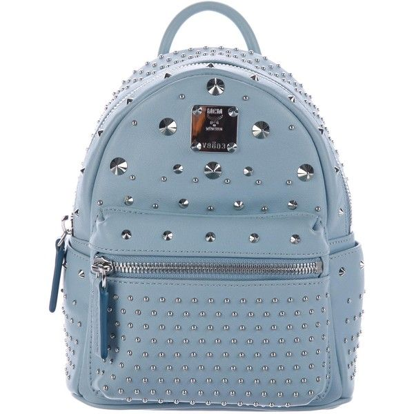 Pre-owned MCM X-Mini Stark Special Backpack ($495) ❤ liked on Polyvore featuring bags, backpacks, blue, mini rucksack, studded mini backpack, real leather backpack, day pack backpack and studded backpacks