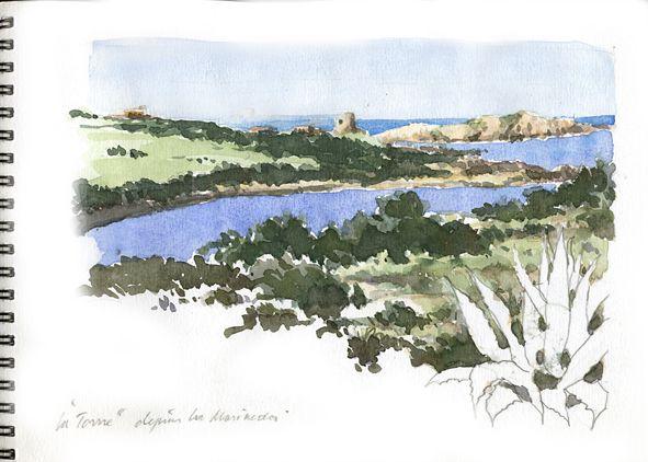 Isola Rossa (Sardaigne) La tour des Maures et l'ile depuis la Marineda…