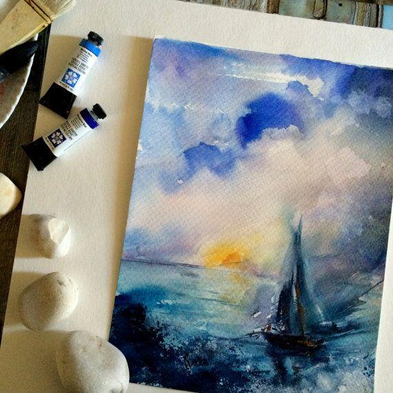 Original Aquarell Segelboot im Meer nautische Malerei von CanotStop