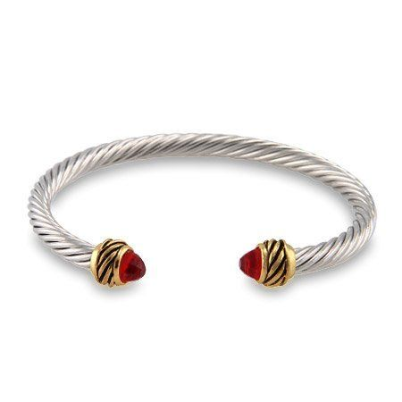 Ruby CZ Thin Cable Cuff Bracelet Eve's Addiction. $28.00. TCW: .45 carats. Approximate Weight: 20.3 grams