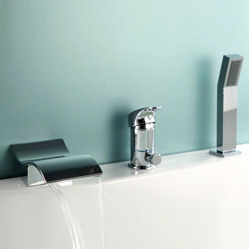 modern waterfall widespread roman tub filler faucet with handshower in chrome generic