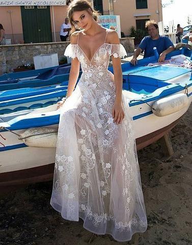 a6393ef49ac White v neck lace off shoulder long prom dress