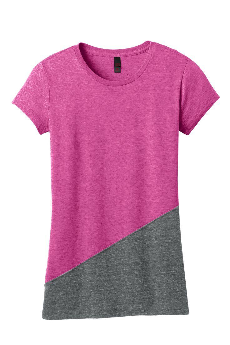 District Womens Juniors Triblend Pieced Crewneck Short Sleeve T-Shirt DT243