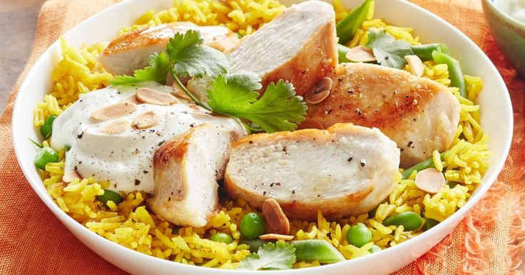 Top turmeric spiced rice with grilled chicken, yoghurt, almonds and coriander for a tasty weeknight meal.