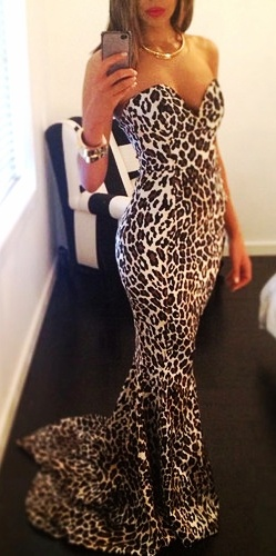 ♥ Leopard print evening gown! Love it!!